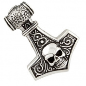 Thor Hammer with Skull, Pendant 925 Silver