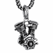 COPAUL Jewellery Stainless Steel Motorcycle Engine Men's Pendant with 60cm Chain,Black Silver