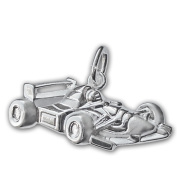 Clever Jewellery Silver Racing Car Pendant 25 x 10 mm Shiny 925 Sterling Silver