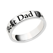 lauhonmin Mens Ring for Dad Gift for Papa - Engraved Best Dad Ever Stainless Steel Father Gifts