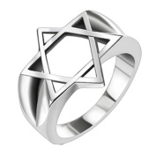 Blue Palm Jewellery - Hollow Star of David Wide Cast Ring Stainless Steel Band Ring R656