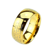 Blue Palm Jewellery - Lords Prayer Laser Etched Gold IP Stainless Steel Band Ring R643