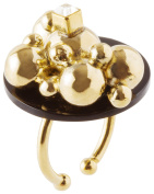 may mOma Women's 24ct Gold Plated Square Clear Crystal Eos Petite Ring
