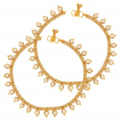 Rhinestone White Gold plated Brass Indian Pair of Classic Heavy Pair of Anklets For Women