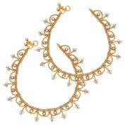 Bollywood Style Heavy Broad Rhilestone Gold Plated Pair of Ethnic India Anklet for Women