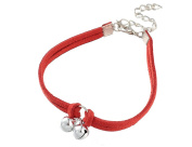 Bell anklets anklet Miniblings Festival Necklace leather cord Red Silver