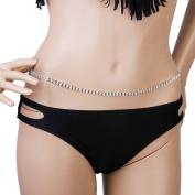 OULII Body Chain Belly Chain Rhinestone Bikini Beach Body Belly Chain Waist Chain