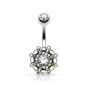 KULTPIERCING Belly Bar with Aurora Barbell Vintage Swirl Surgical Steel Clear Cubic Zirconia