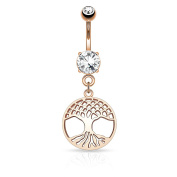 KULTPIERCING Belly Bar with Tree of Life Belly Navel Barbell Bar Ring – Rose Gold