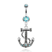 Kultpiercing Belly Button Navel Piercing Bar with Anchor Pendant Barbell Aqua