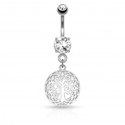 KULTPIERCING Belly Bar with Belly Navel Barbell Bar Ring Tree of Life – Silver