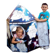 Hobbycraft Colour In Cardboard Paper Rocket Playhouse Build Decorate Play Toy
