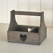 Natural Wooden Trug With Heart Design Shabby Rustic Vintage Style Caddy Wedding