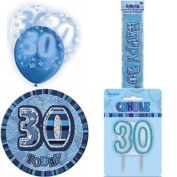 30th Birthday Glitz Blue/silver Party Pack Balloons Banner Candle Badge