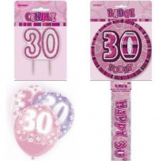 30th Birthday Glitz Pink Party Pack Balloons Banner Candle Badge