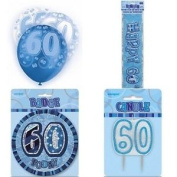 60th Birthday Glitz Blue/silver Party Pack Balloons Banner Candle Badge
