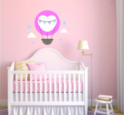 Custom Name Hot Air Balloon Stars And Clouds Baby Boy/Girl Wall Decal Nursery For Home Bedroom Children (909)