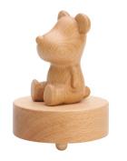 Cute Bear Wooden Mechanical Classical Collectible Music Box for Children