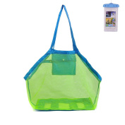 KAKOO Beach Mesh Tote Bag Beach Toys Shell Storage Bag With Waterproof Phone Bag for Toys Swim Boating