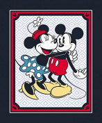 Vintage Style Mickey & Minnie Mouse Cotton Fabric Panel (Great for Quilting, Sewing, Craft Projects, a Child's Quilt & More) 110cm x 90cm Wide