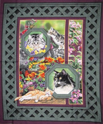 """Wild Wings"" Cats in the Garden Cotton Fabric Panel (Great for Quilting, Sewing, Craft Projects, a Child's Quilt & More) 110cm x 90cm Wide"