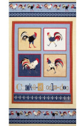 """Cock-A-Doodle-Doo!"" Chicken & Rooster Fabric Quilt Block Panel - a Debbie Taylor Kerman Design (Great for Quilting, Sewing, Craft Projects, Quilt or Throw Pillows) 60cm X 110cm"