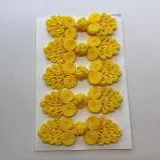 Five Pairs of Bead Chinese Frogs fasteners closure buttons in Golden Yellow, Available in 12 Colours.