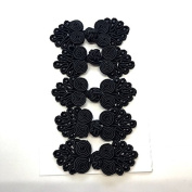 Five Pairs of Bead Chinese Frogs fasteners closure buttons in Black, Available in 12 Colours.