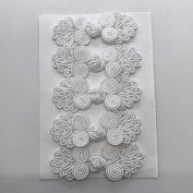 Five Pairs of Bead Chinese Frogs fasteners closure buttons in White, Available in 12 Colours.
