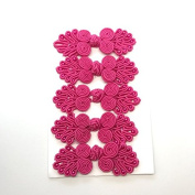 Five Pairs of Bead Chinese Frogs fasteners closure buttons in Hot Pink, Available in 12 Colours.