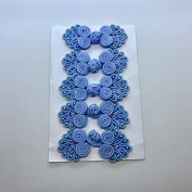 Five Pairs of Bead Chinese Frogs fasteners closure buttons in Baby Blue, Available in 12 Colours.