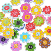 Freedi 50Pcs Wooden Buttons for Craft Flower Shape Sewing Buttons Bulk DIY Scrapbooking Supplies Assorted