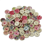 Freedi 100Pcs Wooden Buttons for Craft Round Flower Printed Sewing Buttons Bulk DIY Scrapbooking Supplies Assorted