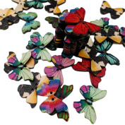 Freedi 50Pcs Wooden Buttons for Craft Butterfly Shape Printed Sewing Buttons Bulk DIY Scrapbooking Supplies Assorted