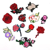 Honbay 11pcs Set Mix Flower Roses Iron on Embroidery Applique Patches Sewing Craft Decoration