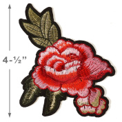 Embroidered Red Floral Iron-On Applique Patch, Embroidery Patch by 1 pc, 10cm - 1.3cm , TR-11293