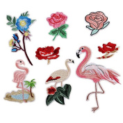 8PCS Flowers Pink Flamingos Patches Iron On Embroidered Patch For Clothing Stick On Badge Paste For Clothes Sew On Bag Pants