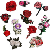 11PCS Plum Blossom Peach Red Roses Flower Patches Embroidered Iron On Patch For Clothing Sticker Badge Paste For Clothes Bag Pants