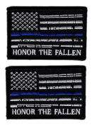 Honour The Fallen Thin blue Line USA Flag police Morale Hook Patch