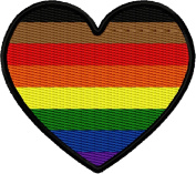 New PoC-Inclusive LGBT Rainbow Gay Pride Heart Iron On Applique Patch - Red, Orange, Yellow, Green, Blue, Purple, Brown, Black - 5.7cm x 5.1cm