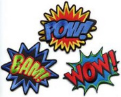 Spinner Lot of 3 POW! WOW! BAM! superhero comics retro fun appliques iron-on patches new Better Bag Cloth Tee Shirt