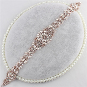 Bridal Applique with Crystal Rhinestone Handmade Embellishments Dazzling Thin Sewing Hot Fix for DIY Wedding Belts Dress Sashes - Rose Gold