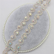 Bridal Wedding Dress Sash Belt Applique 1 Yard with AB Crystals Rhinestones Handcrafted Sparkle Elegant Thin Sewn or Hot Fix for Women Gown Evening Prom Clothes - Silver