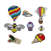 HUIXUN Mixed Hot Air Balloon Bee Animal Small Patches Stripes Iron Clothing Embroidered For Clothes Bags Appliques Fabric Sticker Sewing Accessories 8 Pieces