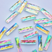 Big Beads Rectangle AB Colour 60PCS Flatback Acrylic Crystal Clear Stones Sewing Rhinestones For DIY Wedding Dresses Clothes Accessories 2 Holes