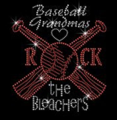 Hot Baseball Rock the Bleachers Rhinestone Iron on Transfer