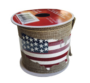 Americana Patriotic Ribbon 6.4cm x 4.3m Red White and Blue Flag USA Wired Edge