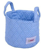 Minene Small Blue With White Dots Fabric Storage Basket Organiser With Handles 1