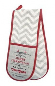 Merry Christmas Reindeer Chevron Grey White Cotton Quilted Double Oven Gloves