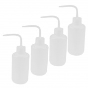 Sourcingmap® Plastic Lab Bent Tip Liquid Storage Squeeze Bottle 250ml 4 Pcs